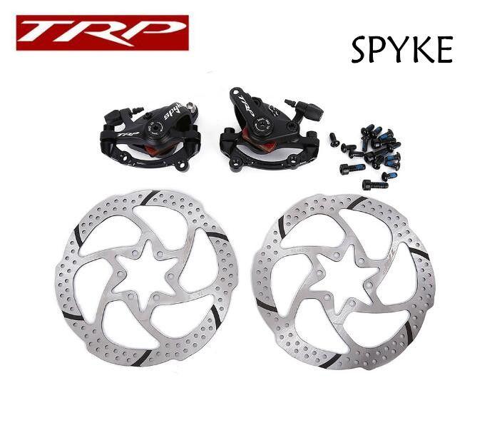 TRP Spyke MTB Bike Mechancial Disc Brake Set Front+Rear Black with 2x160mm Rotors Bilateral drive mechanical disc brake