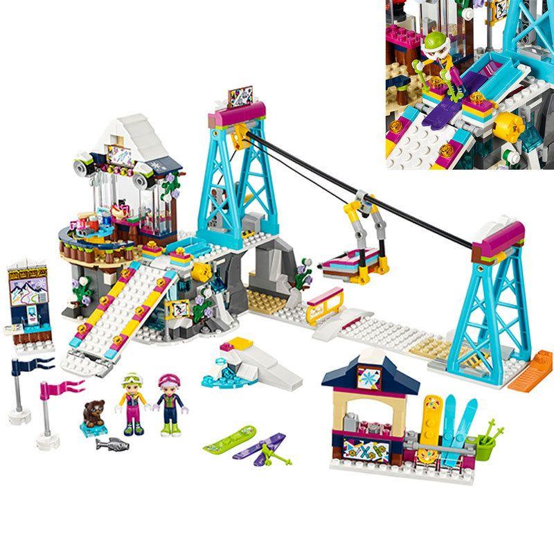 Friends LegoINGlys Snow Resort Ski Lift Gift Club Ski Vacation Skiing Figure Building Blocks Bricks kit Toys For Girls Christmas