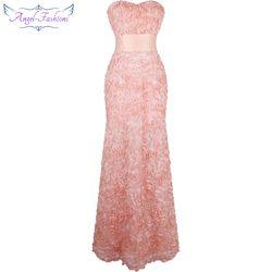 Angel-fashions Off Épaule En Mousseline de Soie Fleurs Ruché Longues Robes De Soirée Rose ROBE DE MARIÉE 343
