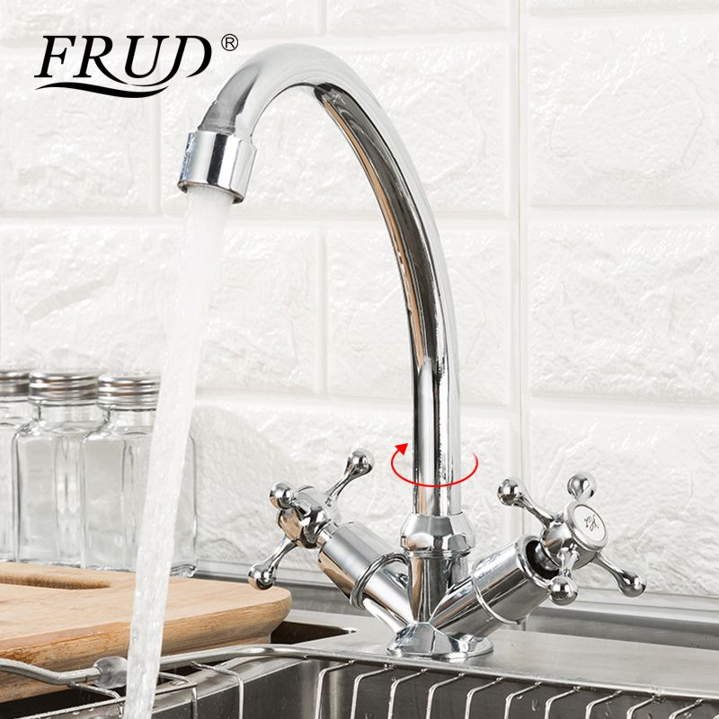 FRUD Hot Sale Kitchen Faucet Deck Mounted Dual Handle 360 Degree Hot & Cold Water Sink Accessories Mixer robinet cuisine R40108