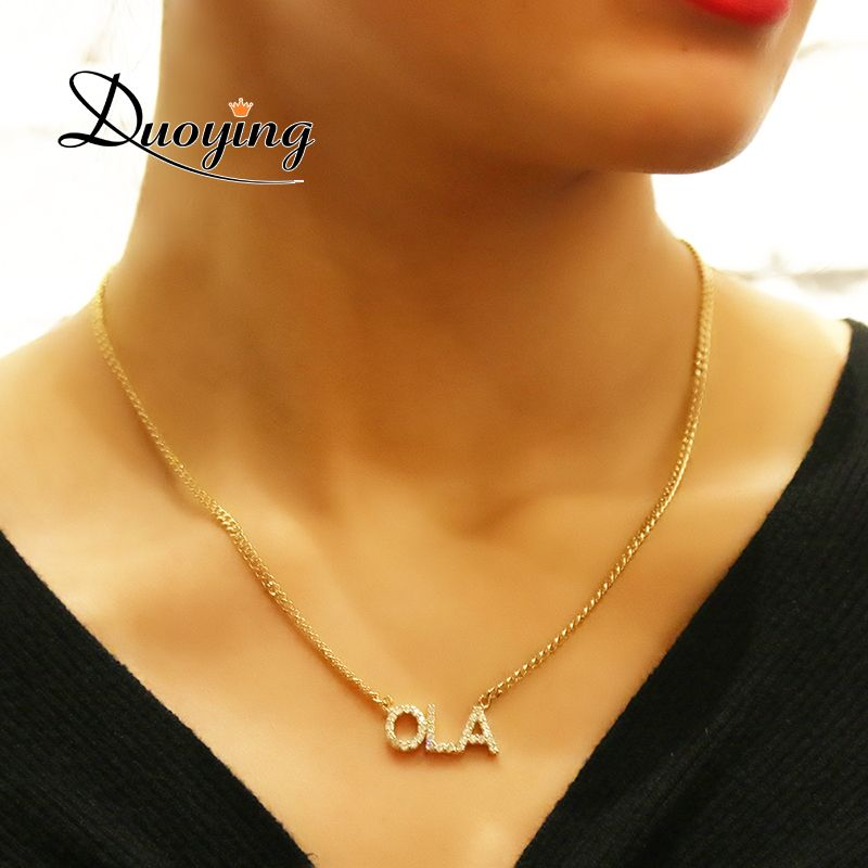 Duoying Crystal Pendant Necklace for Women Stone Chain Zirconia Necklaces Women Personalized Name Necklace NLK90