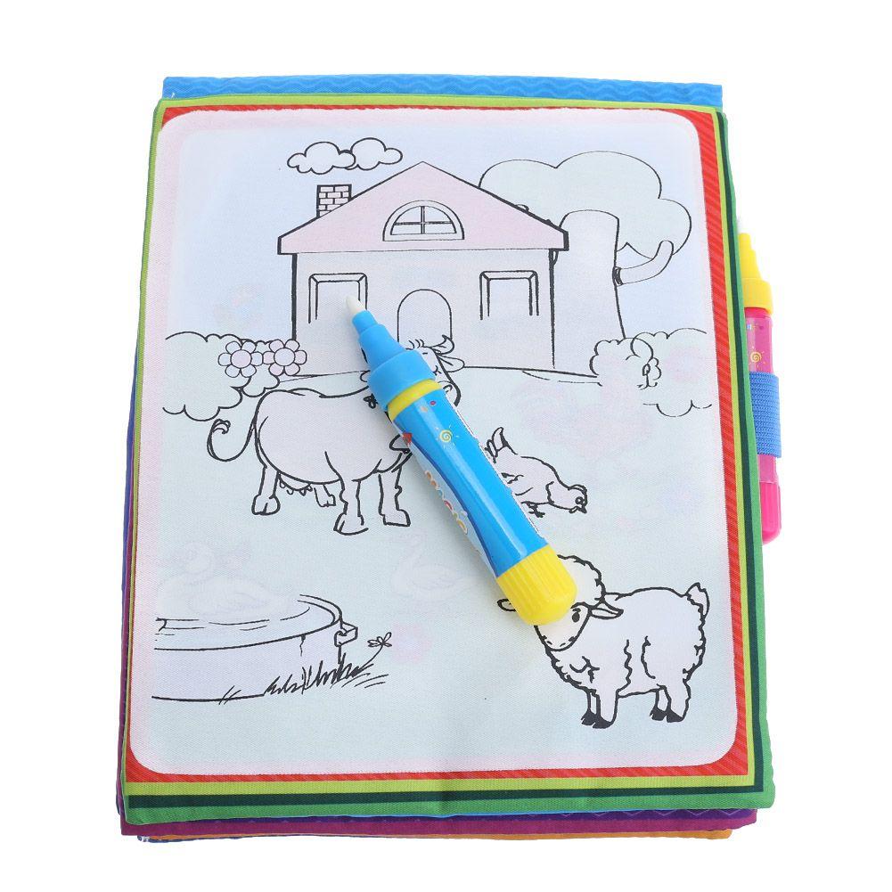 Kinder Magie Wasser Zeichnung Buch Tiere Malerei Wasser Färbung Tuch Buch mit Magic Pen Kinder Zeichnung Früh Pädagogisches Spielzeug