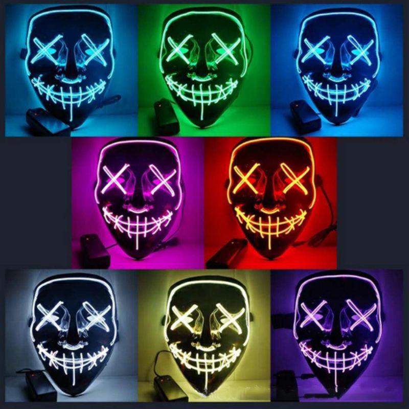 Halloween Masque LED Lumière Up Party Masques La Purge Année Électorale Très Drôle Masques Festival Cosplay Costume Fournitures Lueur Dans foncé