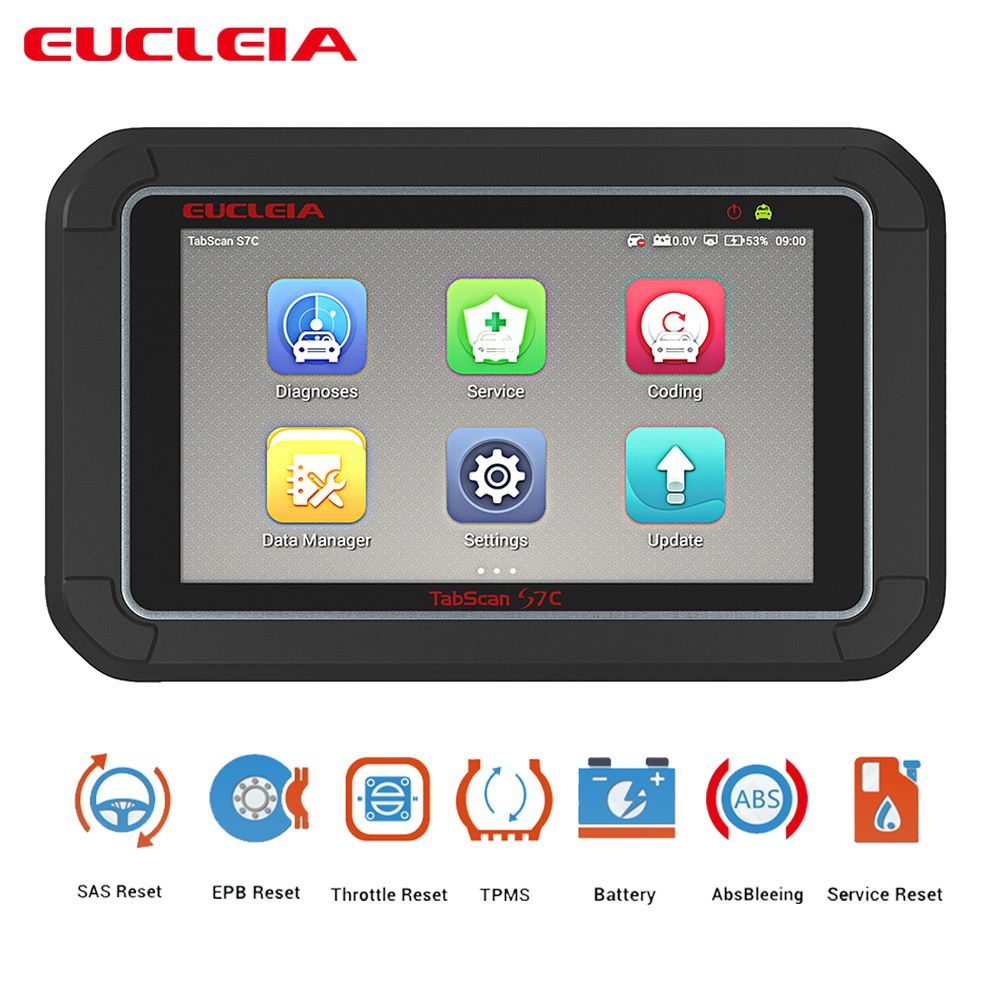 Multifunktions Auto Automotive Scanner OBD2 Auto Diagnose ABS Blutungen EPB Gas Reset SAS Reset EUCLEIA S7 S7C 7 touchscreen