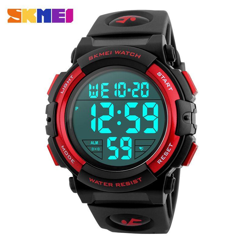 SKMEI 1258 Men Digital Wristwatches Big Dial 50M Waterproof Chronograph Male LED Clocks <font><b>Outdoor</b></font> Sports Watches Relogio Masculino