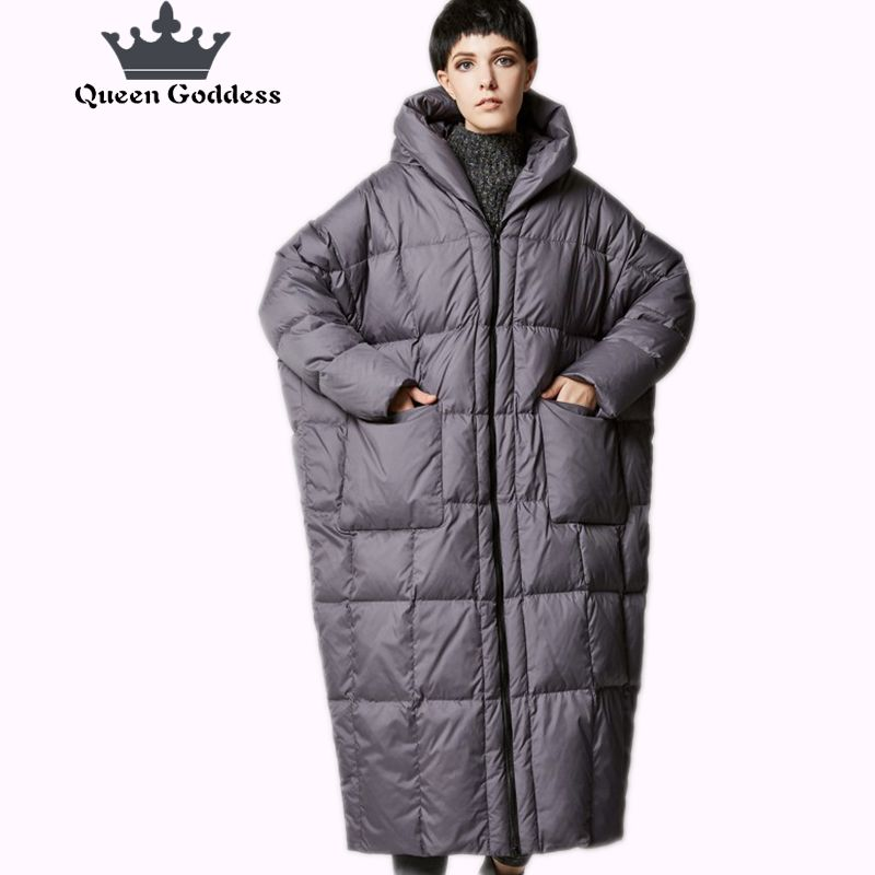 New Arrival Winter 2017 women casual loose cocoon coat thick long hooded duck down jacket warm outwear plus size