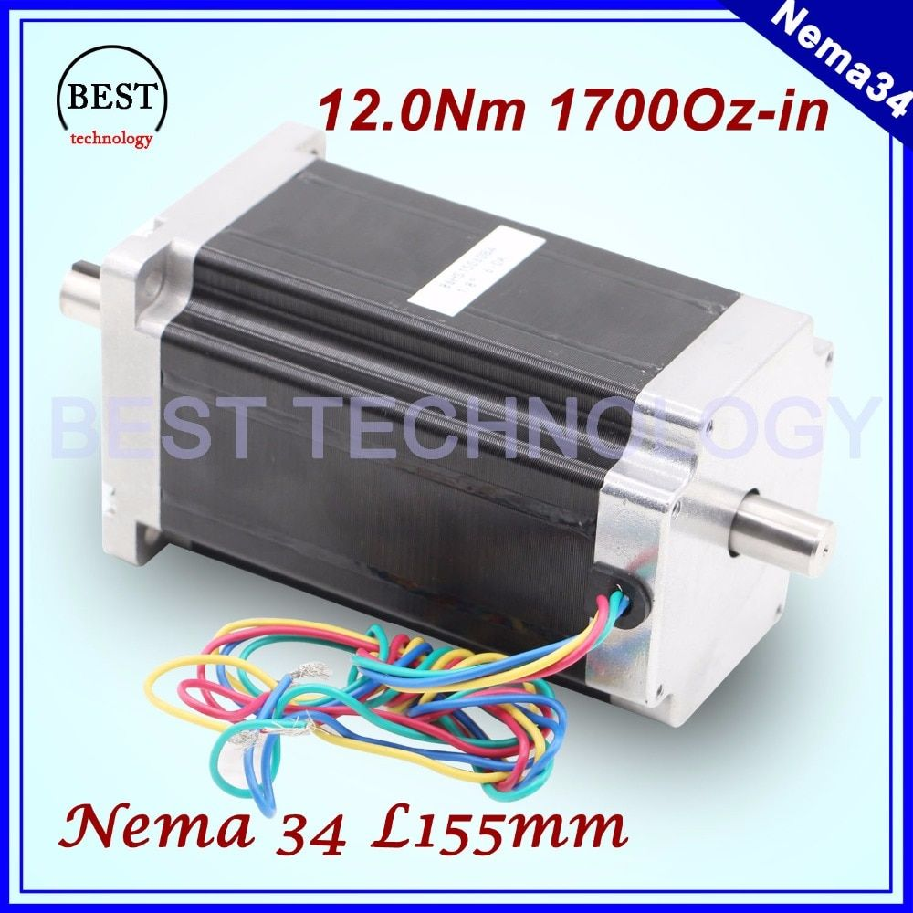 NEMA 34 CNC stepper motor 86X150mm double shaft 12 N.m 6A cnc stepping motor 1700Oz-in for CNC engraving machine 3D printer!
