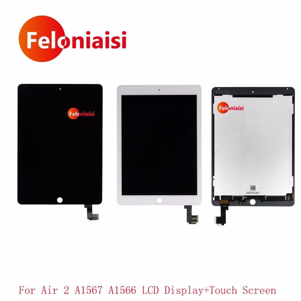 High Quality For iPad Air 2 For iPad 6 A1567 A1566 LCD Display With Touch Screen Digitizer Panel Glass Sensor Complete Assembly