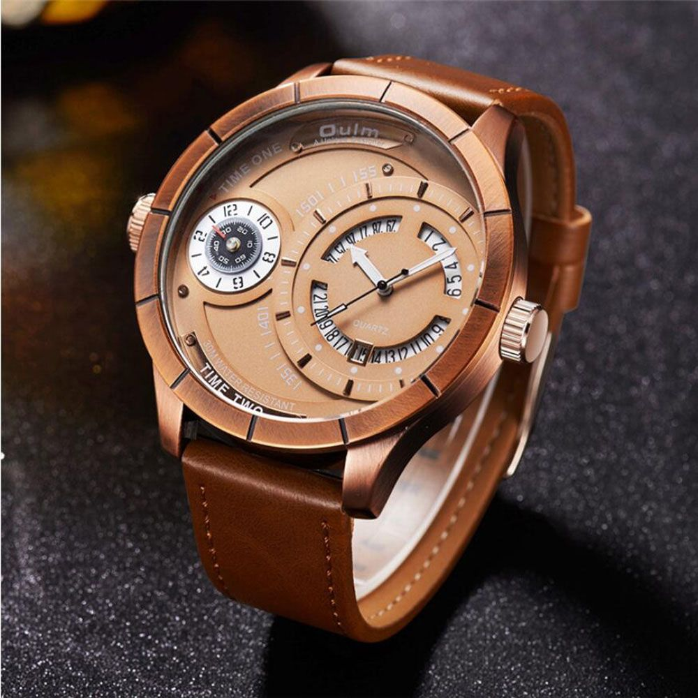 2018 New Men Watches Top Brand Oulm Men Waches Rose Gold Calendar Quartz Watch Male Two Time Zone Big Watches Men