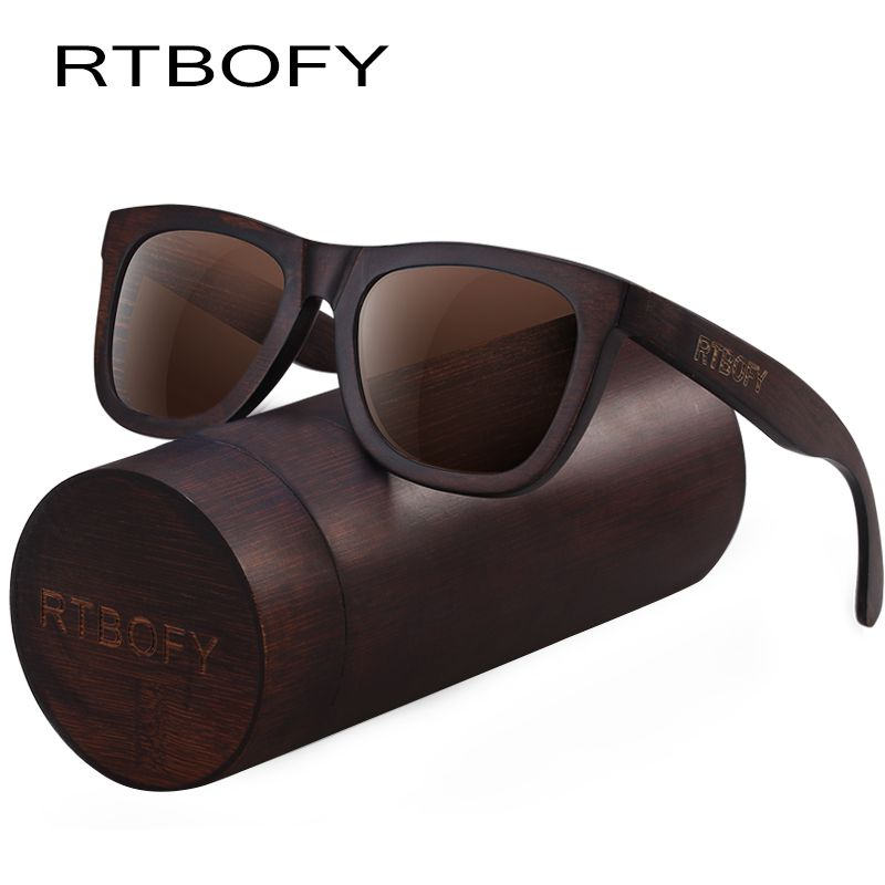 RTBOFY Wood Sunglasses for Men & Women Duwood Frame Eyeglasse Polarized Lenses <font><b>Glasses</b></font> Vintage Design Shades UV400 Protection