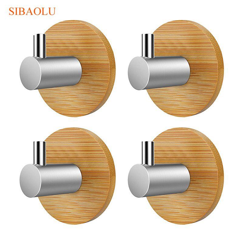4 PCS Bamboo Stainless Steel 3M Sticker Wall Clothes Bag Key Hook Heavy Duty Door Hook Bathroom Kitchen Towel Hanger