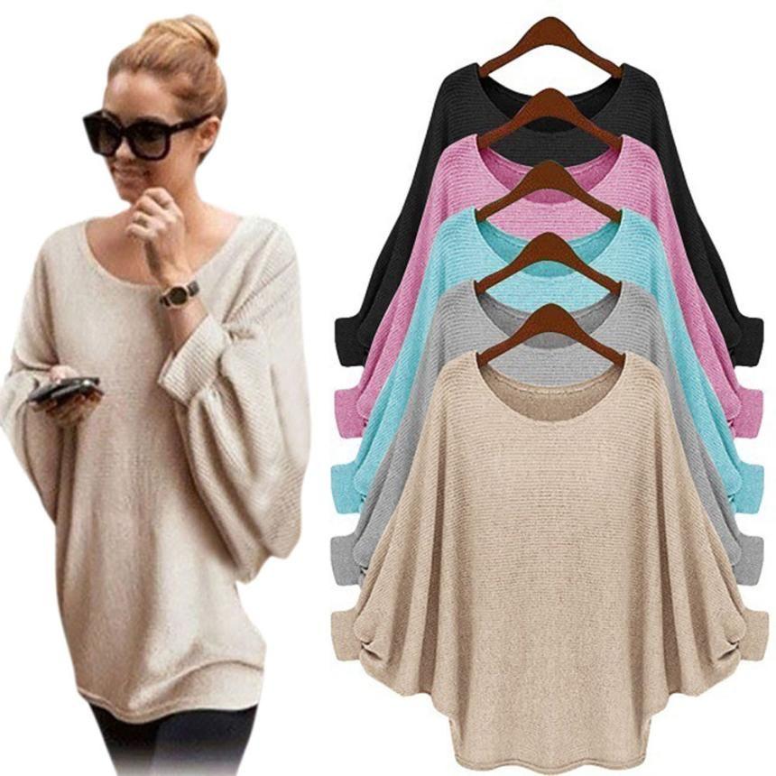 # Vestido 2017 Korean Long Sleeve Casual Loose Pullover Knitted Sweater Women Warm Winter Batwing cardigan Femme17