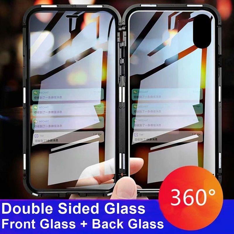 Étui pour iphone magnétique XS MAX X 7 8 Plus Coque de téléphone en métal deux côtés en verre trempé 360 Funda étuis Fundas Capa Carcasa