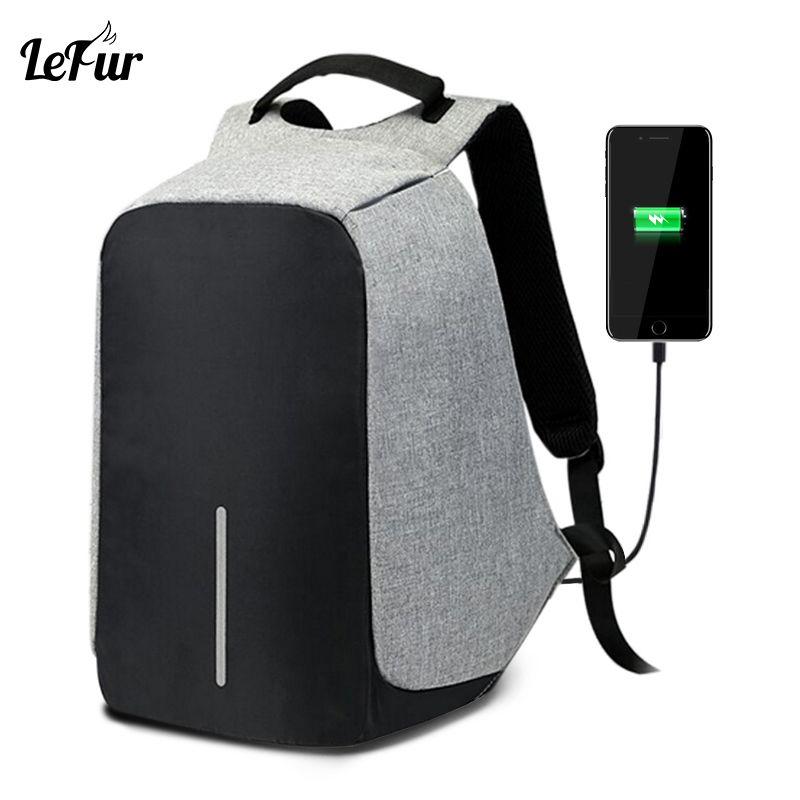 LEFUR Men Laptop Backpack USB Charging Bag Women Anti-theft Waterproof Backpack Leisure Travel Bagpack School Bag Unisex mochila
