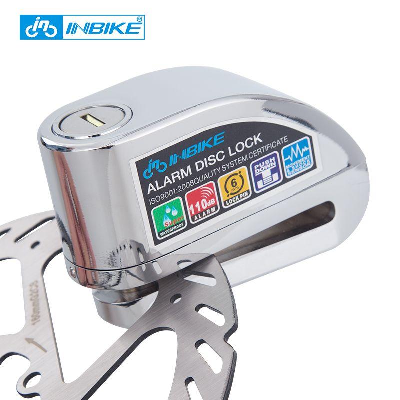 INBIKE Bike Alarm Disc Lock Anti-theft Brake Disc Security Alarm Electron Lock 6mm Pin for Motorcycle Motorbike Safety Bicycle
