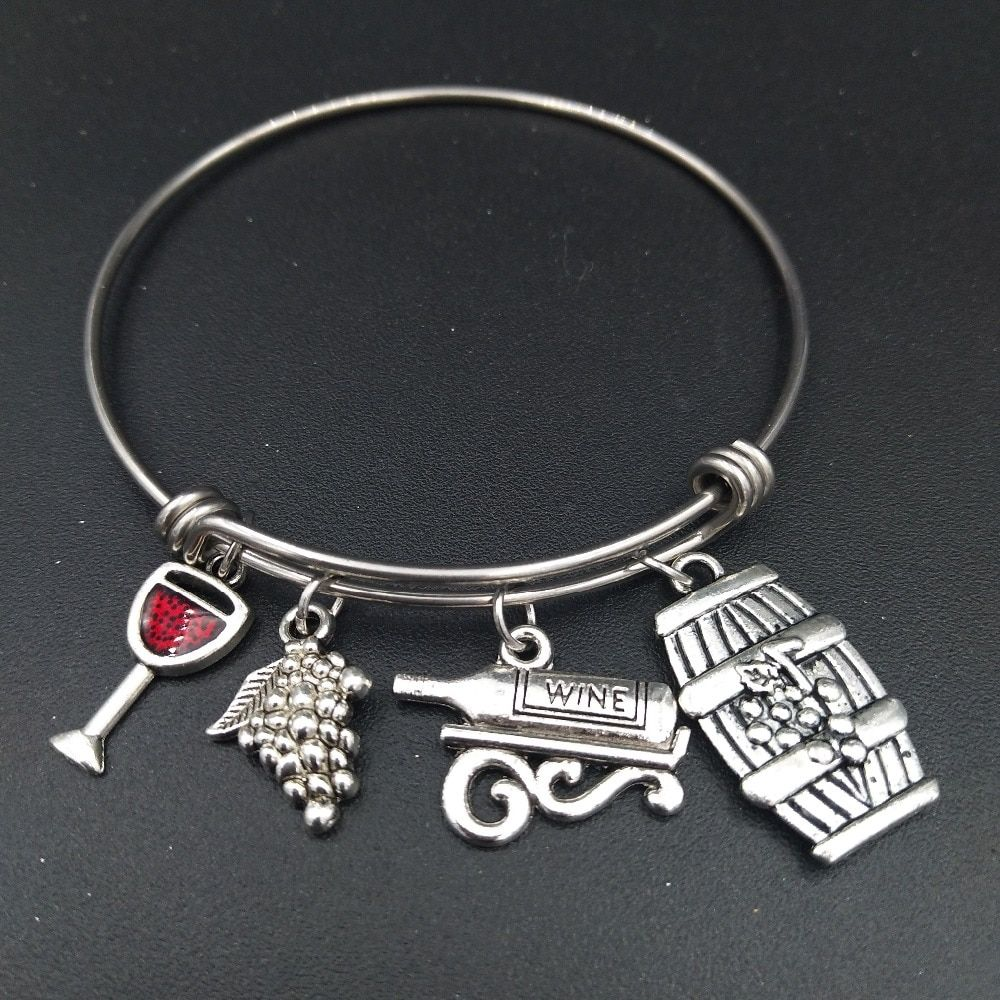 Stainless Steel Expandable Wire Bangle Red Wine Glass Charm Bracelet DIY Jewelry Gift for Wine Lover Wholesale Bulk Price