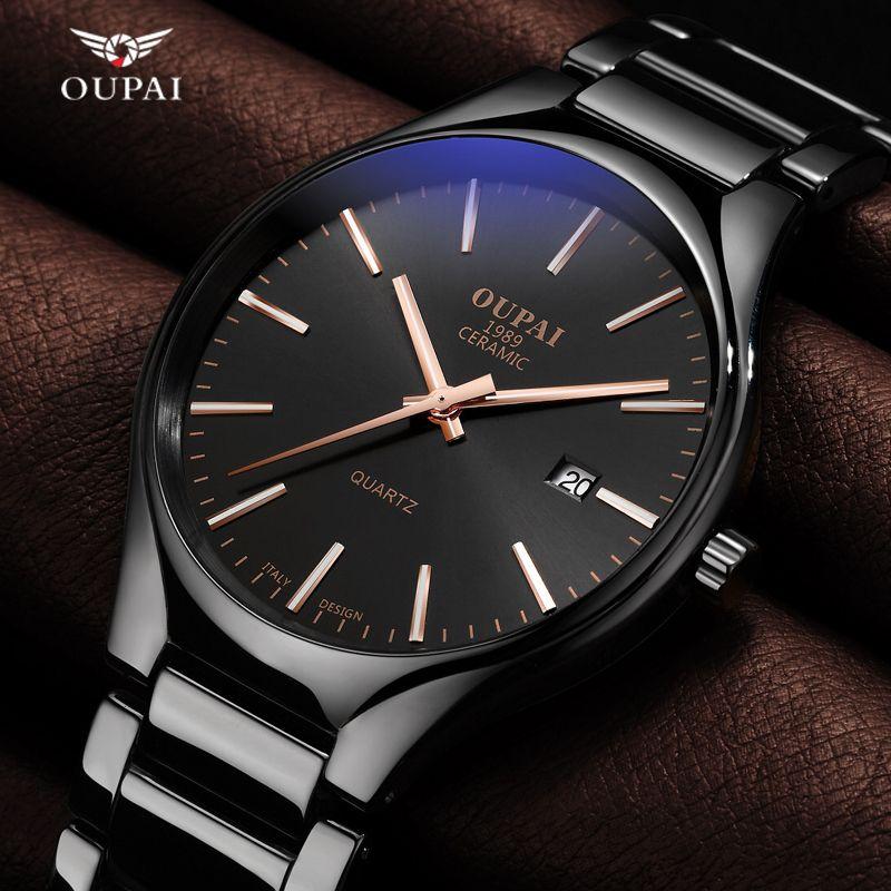Luxury Oupai  Watch Men Classic Black Ceramics  Double Date Women Mens Sport Quartz Watches  Montre - bracelet  Uhren