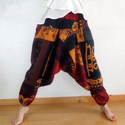 Pria Wanita Gypsy Hippie Aladdin Baggy Harem Celana Hammer Celana BoHo Kasual Celana Cross Celana