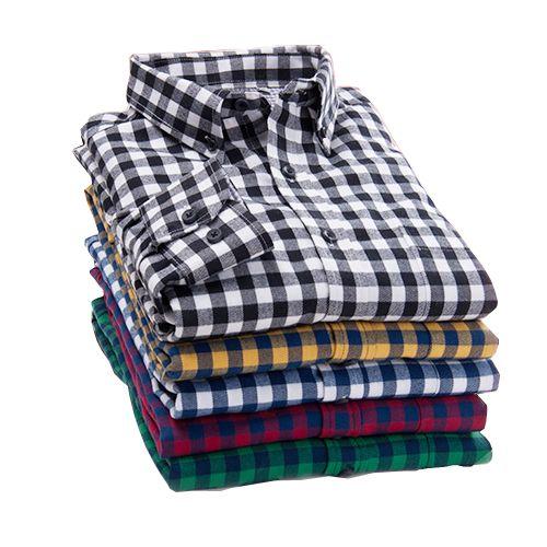 2017 New Autumn Brand Men's Plaid Shirt Male Warm Long Sleeve Shirt Plus Size Youth Office Business Casual Shirt Men