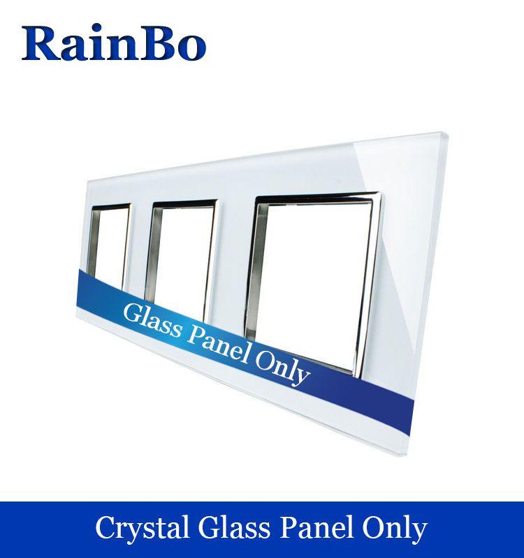 RainBo Livraison gratuite De Luxe triple Panneau Verre Cristal 3 Cadre 222mm * 80mm Standard de L'UE prise murale DIY accessoires A3888W/B1