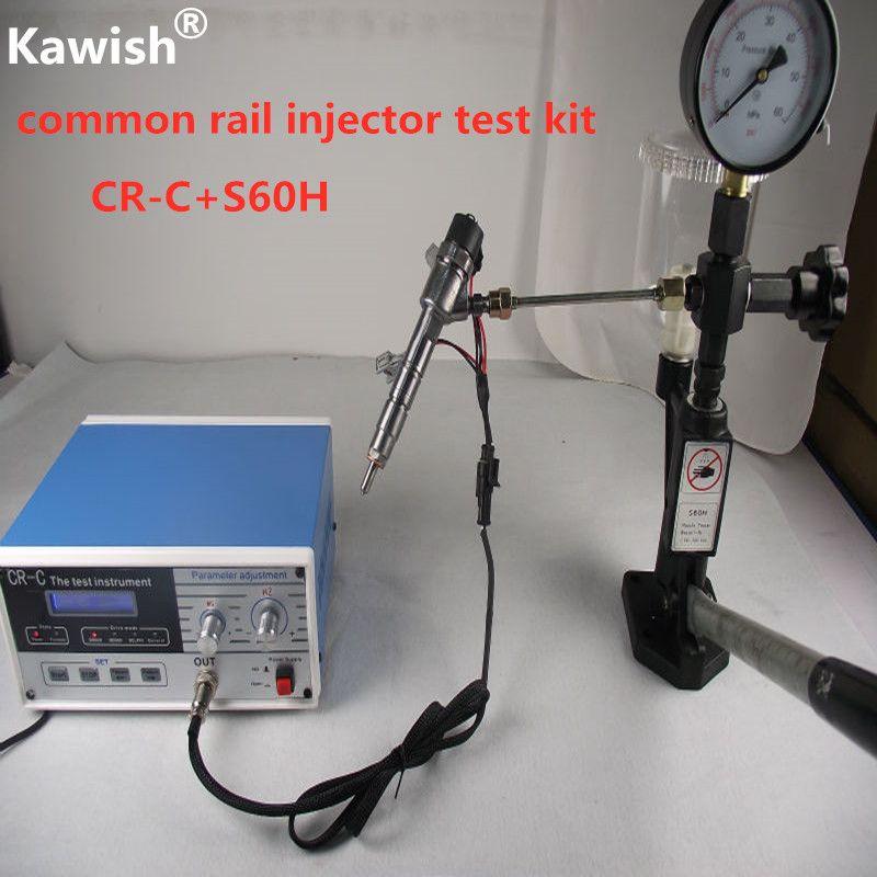 Combinaison! testeur d'injecteur à rampe commune diesel multifonction de CR-C + validateur de buse S60H, outil de testeur d'injecteur à rampe commune