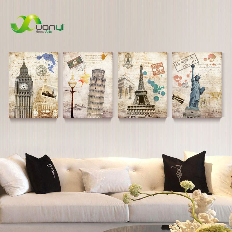 Vintage Abstract The Statue of Liberty Building Town Canvas Oil Painting Wall Art Picture For Living Room Unframed PR056