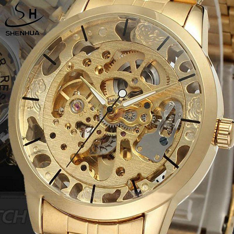 Роскошные Для мужчин золото полный Сталь прозрачные часы Скелет автоматические механические часы стимпанк часы Для мужчин Relogio masculino прода...