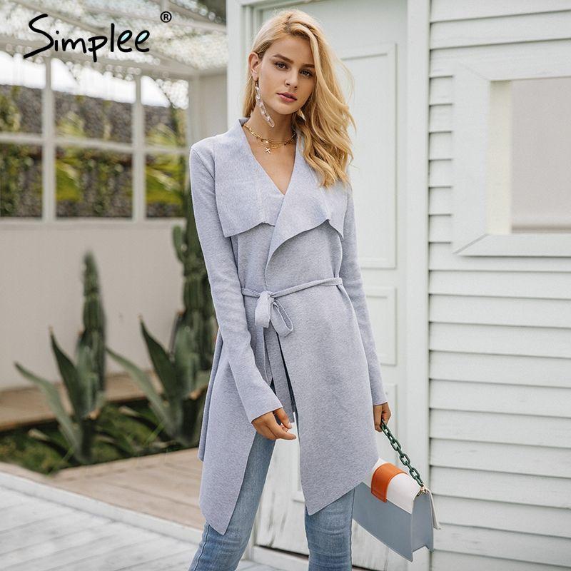Simplee Elastic knitting long cardigan women Winter sweater sash Knitted cardigan female Soft casual sweater coat pull jumper