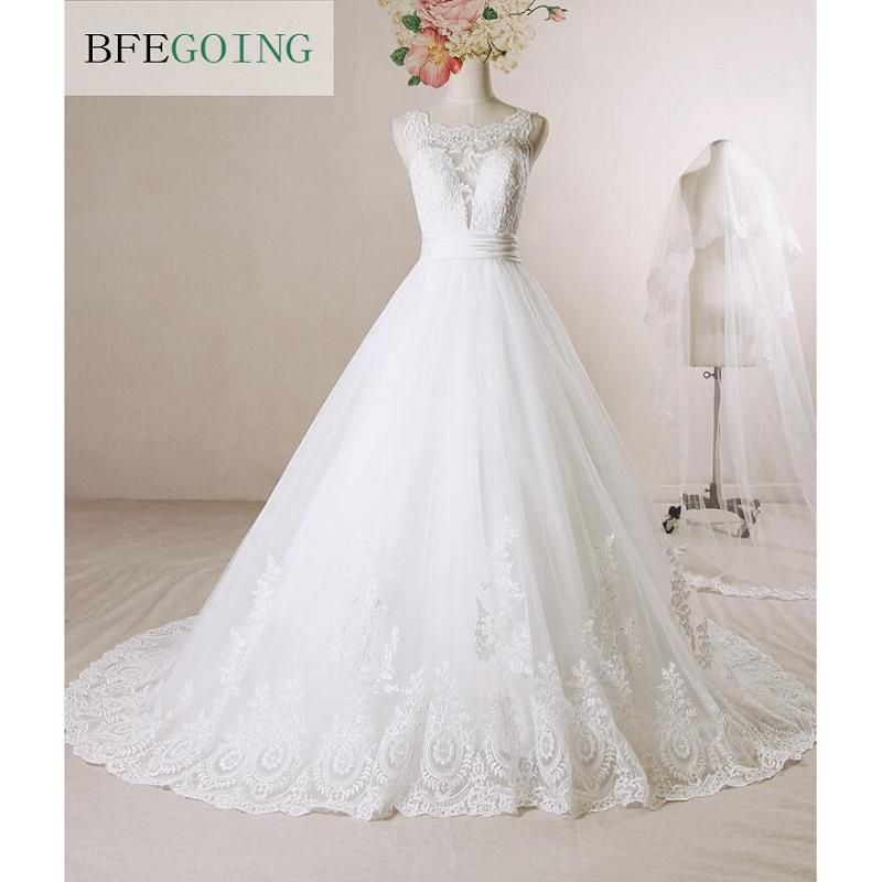 White Lace A-line Wedding dress Chapel Train Floor-length Cap Sleeves Real Pictures/Photos Custom made