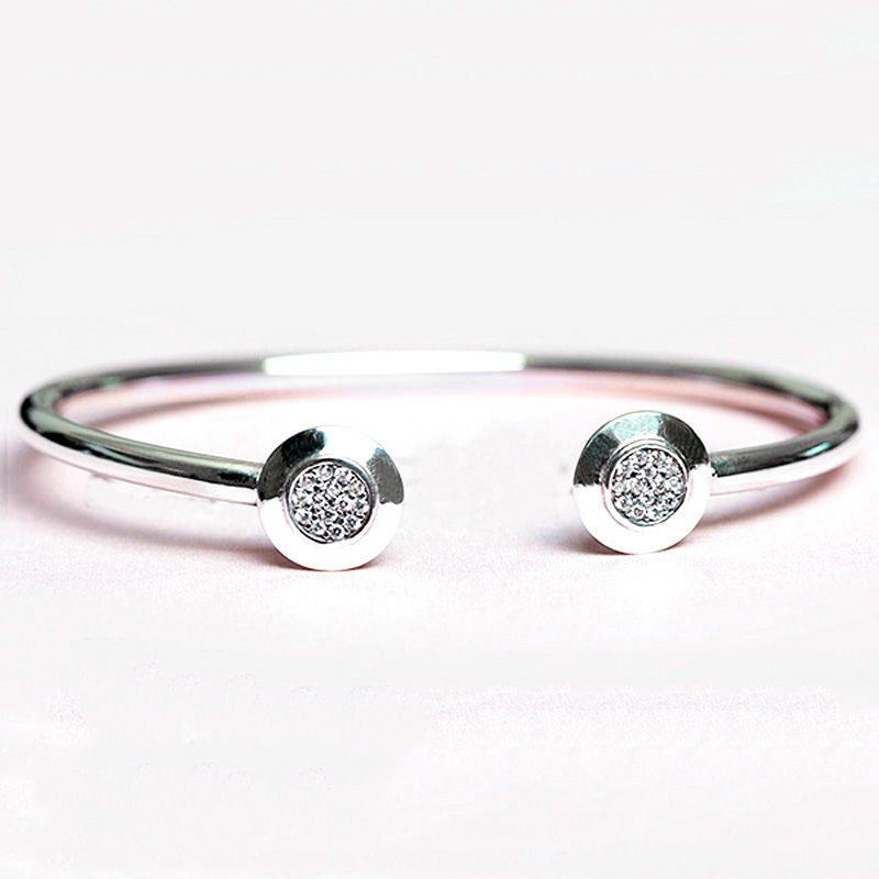 925 Sterling Silver Women Bracelet & Bangle Pave CZ Signature Open Clasp Girl Gift fit Pandora Charms Beads Pendants DIY Jewelry