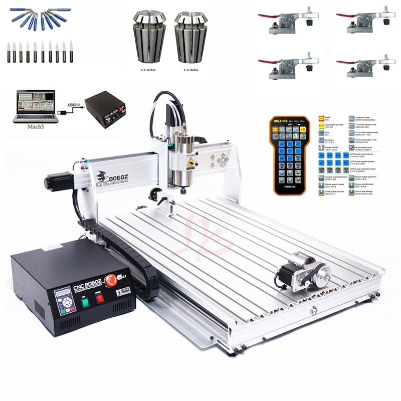 4Axis USB Port Mini CNC 8060 2200W Spindle Metal Cutting Engraving Machine March3 ER20 Collet CNC Wood Router With Limit Switch