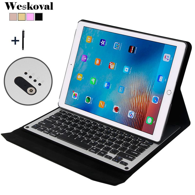 Für iPad Pro 12,9 zoll (2015) drahtlose Bluetooth Tastatur-kasten Für 2015 iPad Pro 12,9 ''Tablet Aluminium-legierung Stand Abdeckung + Stylus