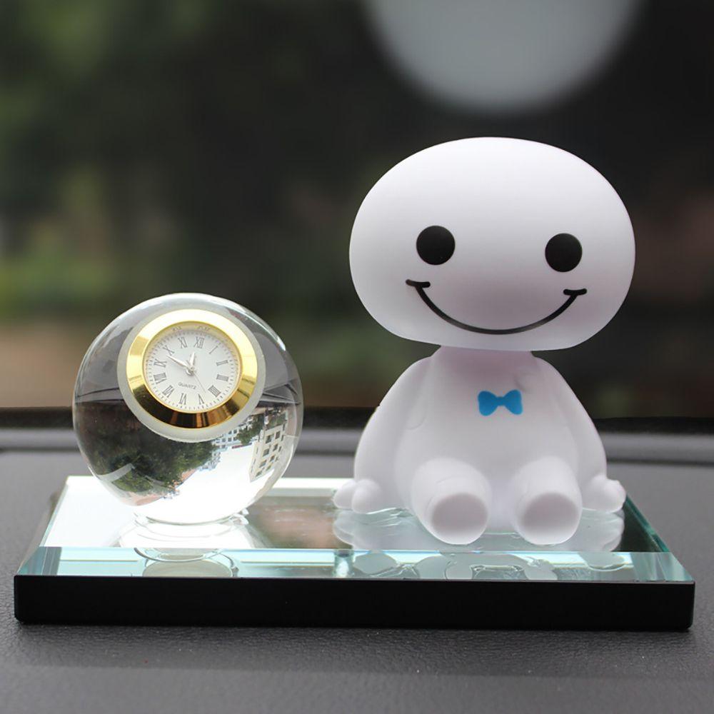 Car Ornaments Creative Baymax With Quartz Clock Decoration Automobile Internal Cartoon Big Hero Digital Clock Decor Accessories