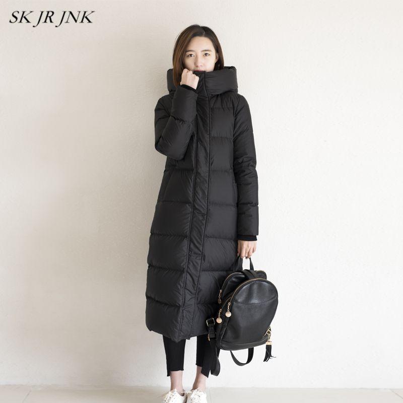 Women White Duck Down Parkas 2018 Winter Fashion Female Warm Down jacket Ladies Padded Coat Casual Waterproof Long Parkas LYL286
