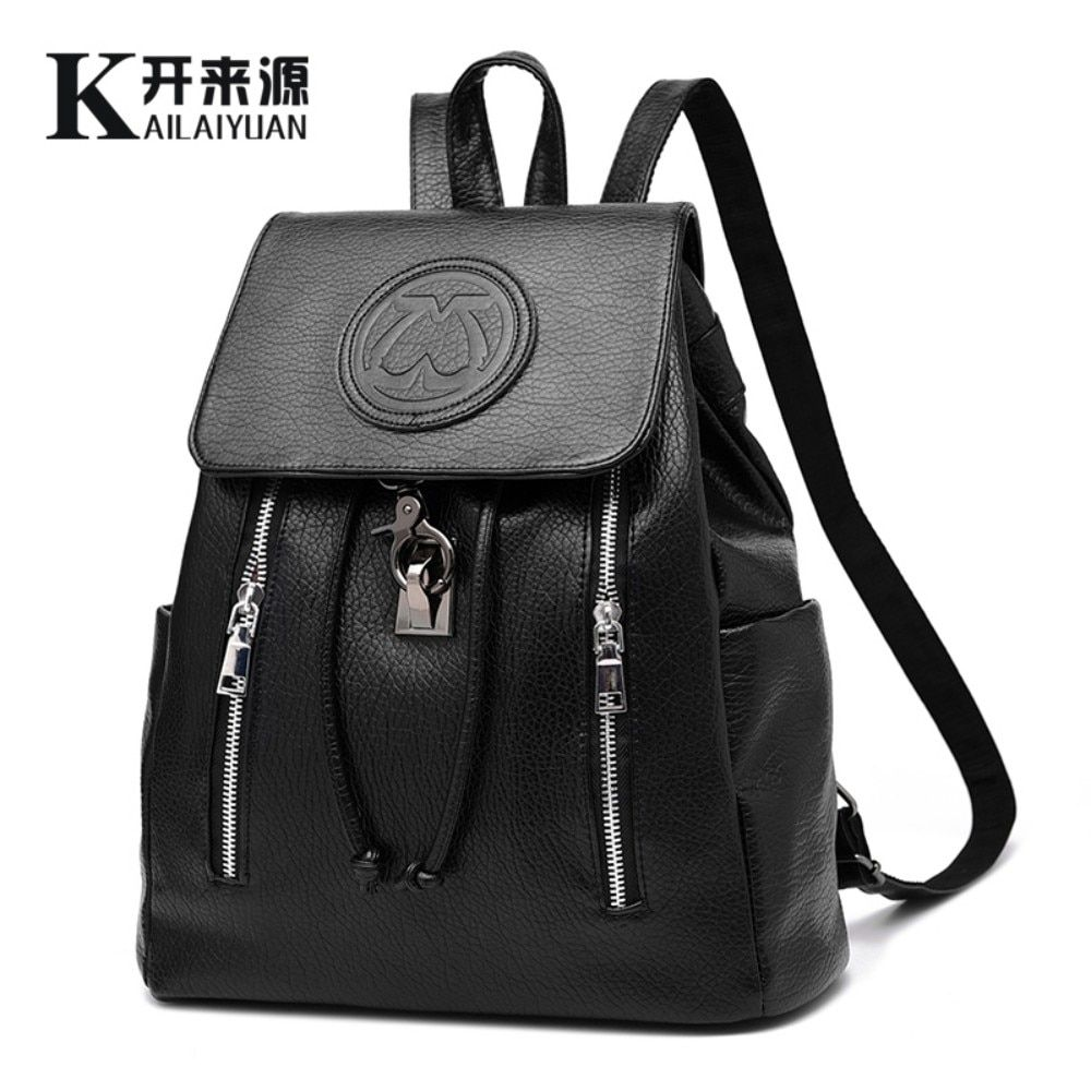 KLY 100% Genuine leather Women backpack 2018 New fashion leisure backpack embossed Korean women Preppy Style Vintage school Bag