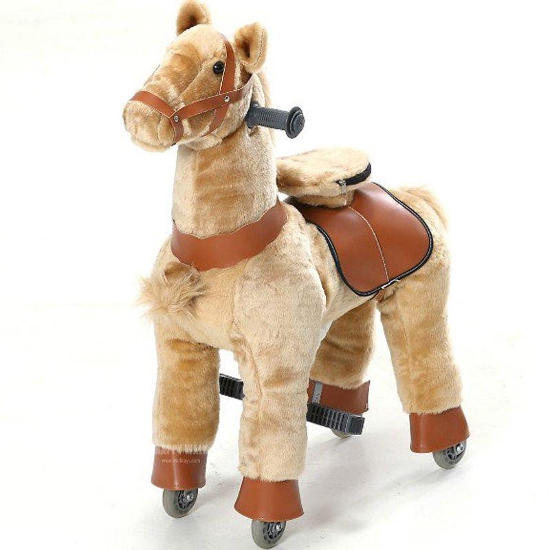 Braun Plüsch Mechanische Walking Horse Spielzeug M Größe Bounce Oben und Unten Schiebe Pferd Weihnachten Geburtstag Kinder Geschenk Zeit- begrenzte Verkauf