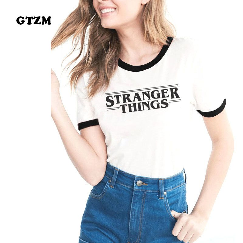 GTZM 2017 Summer Stranger Things Tshirt Women Letter T-shirts Printing Bts Funny Tee Shirt For Female Top Clothes Short Sleeve