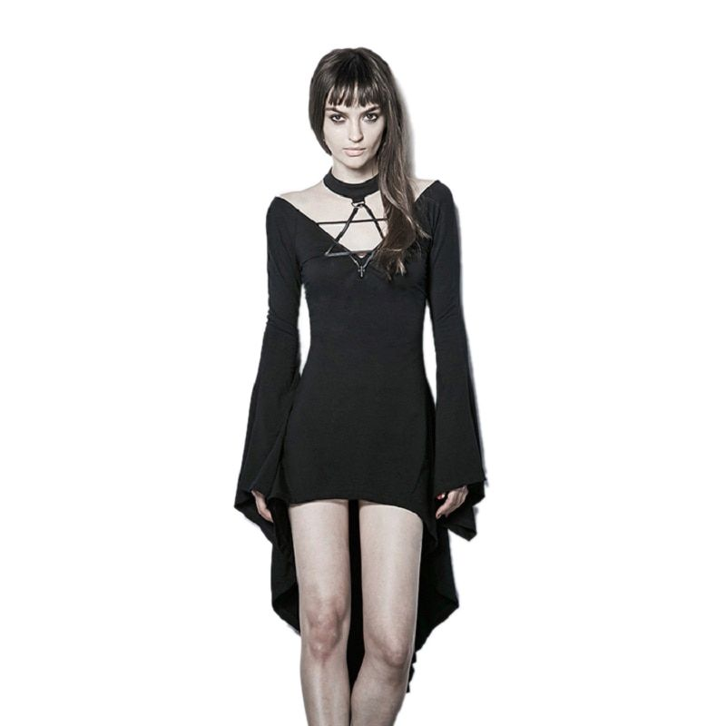 2018 New Fashion Gothic Dark Witch Sexy Irregular Hem Flare Sleeve Knit Dress Deep V Wide Cuff High Club Party Dresses Bandage