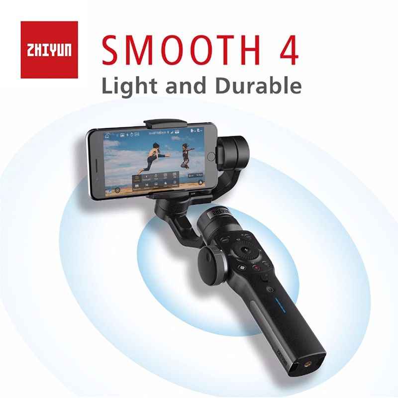 Zhiyun Smooth 4 3-Axis Handheld Gimbal Portable Stabilizer Camera Mount for Smartphone iPhone X&8 & Huawei Xiaomi & Gopro