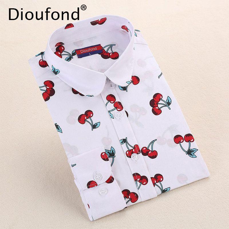 Dioufond новый цветочный длинным рукавом старинные блузка черри отложным воротником рубашки Blusas Feminino дамы блузки женская верхняя одежда мода