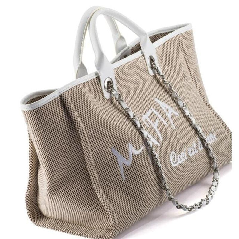 Kostenloser versand frauen lieblings C & C strand tasche einkaufstasche luxus stil frauen strand leinwand kette tasche