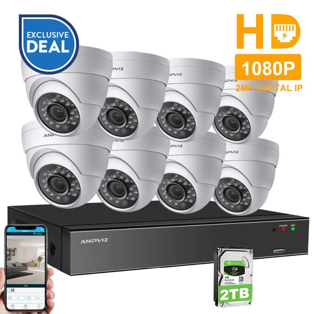 Anpviz 8CH 1080P POE NVR Kit CCTV Camera System HDMI 2MP Outdoor Security IP Camera P2P Video Surveillance System Set HDD Option