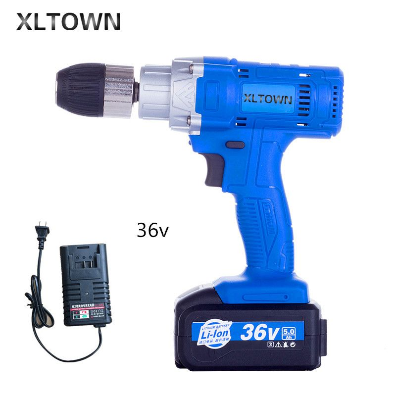 Xltown 36v high power cordless multi-function electric screwdriver woodworking electric drill with 5000 mA lithium battery