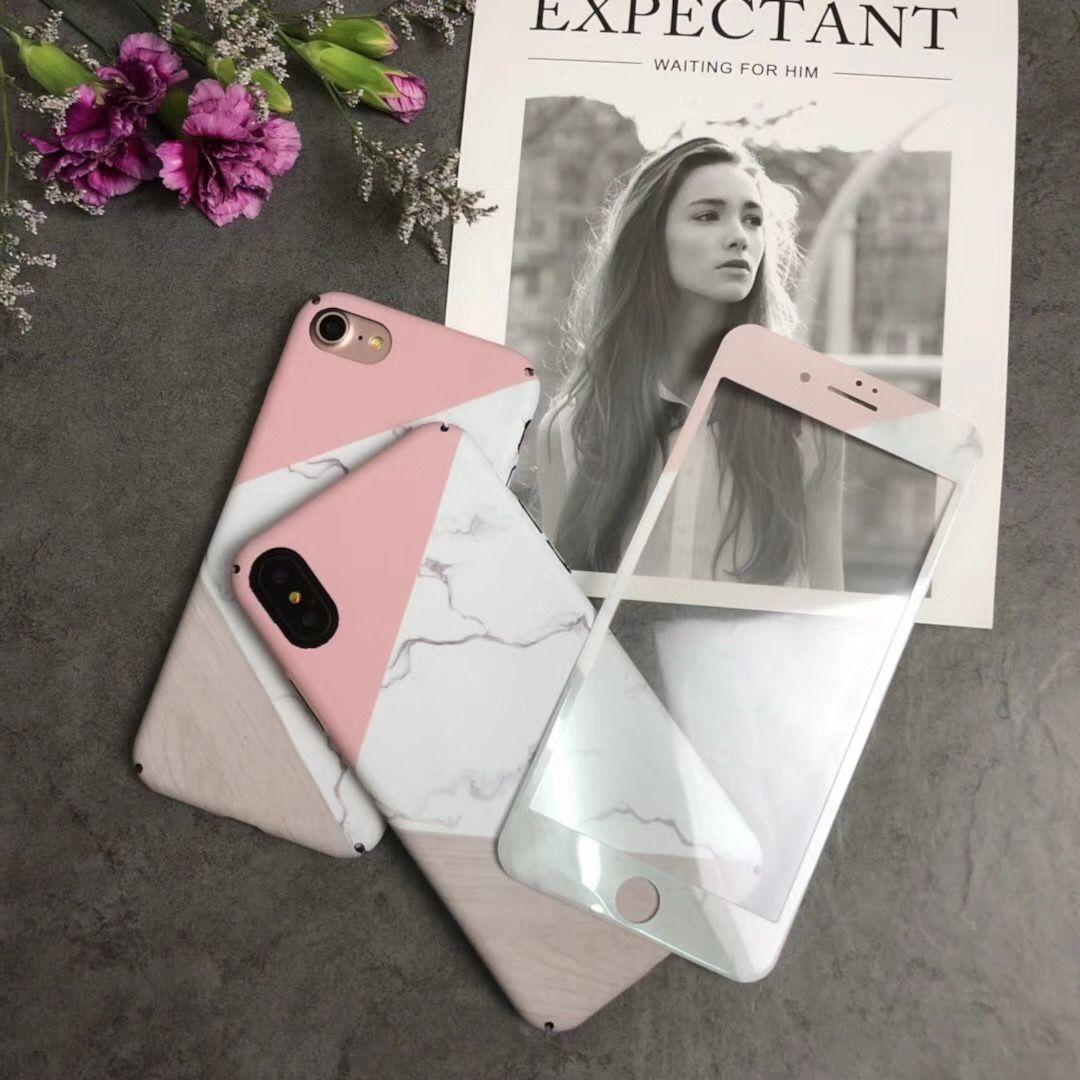 Für iPhone X Marmor Fall + Gehärtetem Glas, matte harte PC rückseite für iPhone 7/7 plus/8/6 s plus Bildschirm farbe film fundas