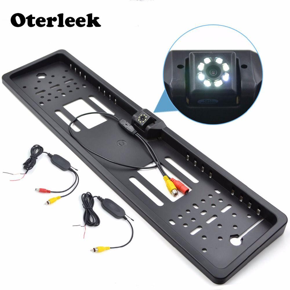Caméra de recul de voiture sans fil Vision nocturne plaque d'immatriculation EU cadre d'immatriculation caméra de recul pour moniteur de voiture