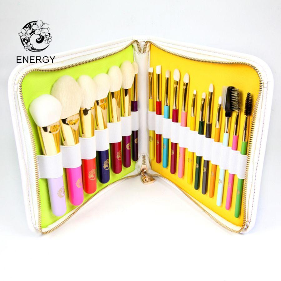 ENERGIE Marke Professionelle 19 stücke Bunte Regenbogen Make-Up Pinsel Set Make-Up Pinsel + Tasche Brochas Maquillaje Pinceaux Maquillage
