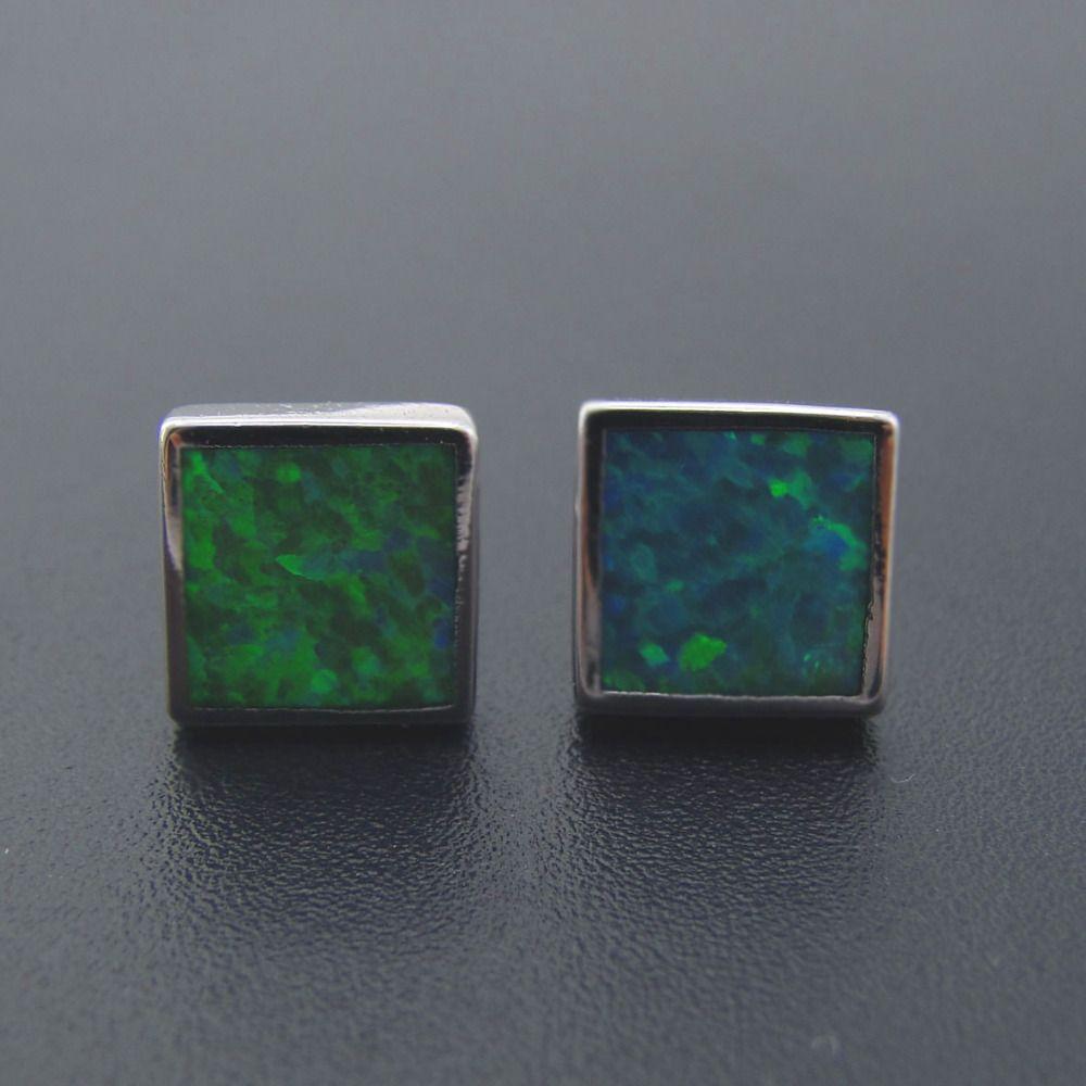 925 argent Opale boucles d'oreilles Carré forme boucles d'oreilles Pour Les Femmes bijoux avec Vert opale de feu boucle d'oreille pour les Femmes beau cadeau bijoux