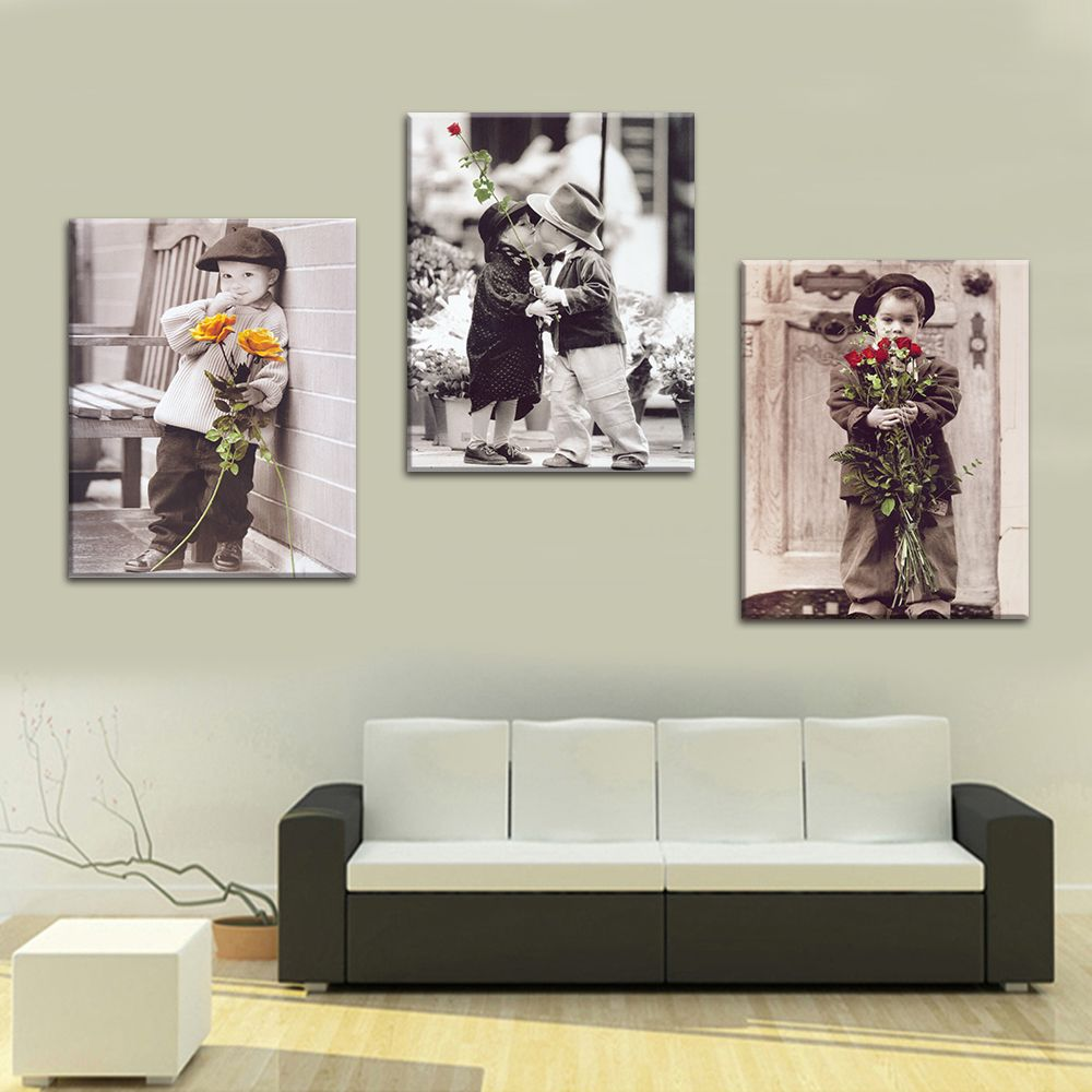 3 Панель мальчик с цветком найти любовь печати Безрамное холст Книги по искусству картина маслом украшения дома Модульная картина для Гости...