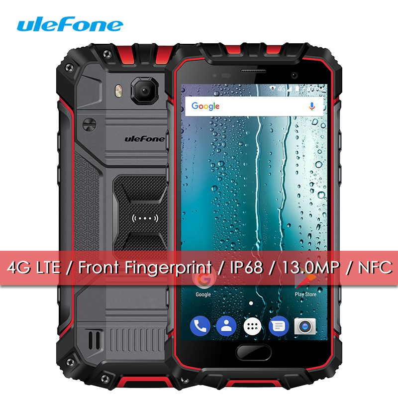 Ulefone Armour 2S IP68 Mobile Phone Waterproof Shockproof 4G LTE Quad Core 2+16 Smartphone Android 7.0 Quick Charge Fingerprint