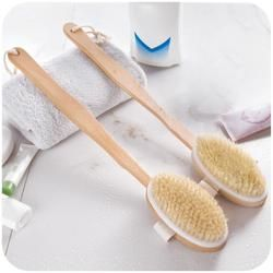 Long Wooden Handle Bath Body Brush Boar Bristles Exfoliating Body Massager Skin Cleaning Brush with for Dry Brushing and Shower